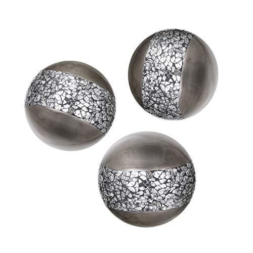 Schonwerk Silver Decorative Orbs for Bowls and Vases (Set of 3) Resin Sphere Balls for Living, Dining Room, Coffee Table Centerpiece Decor - Great Gift Idea (Crackled Mosaic)