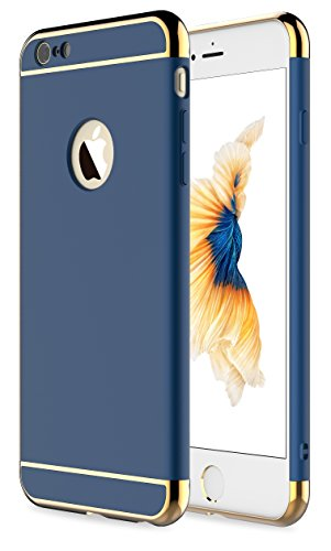 RORSOU iPhone 6 Case, iPhone 6s Case, 3 in 1 Ultra Thin and Slim Hard Case Coated Non Slip Matte Surface with Electroplate Frame for Apple iPhone 6 (4.7') and iPhone 6S (4.7') - Blue and Gold