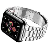 iiteeology Compatible with Apple Watch Band 42mm 44mm, Stainless Steel iWatch Band Replacement Strap for iWatch SE & Series 6 5 4 3 2 1 - Silver