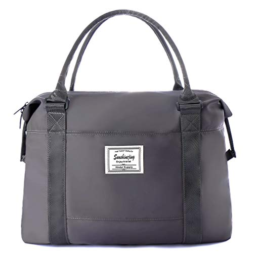 Unisex Large Travel Shoulder Weekender Overnight Bag Handbag Gym Tote Bag with Trolley Sleeve (Grey)