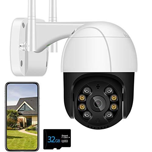 Cámara IP de Seguridad WiFi para Exteriores Cámara de vigilancia PTZ 3MP con detección Humana AI, Audio bidireccional, función de visión Nocturna en Color