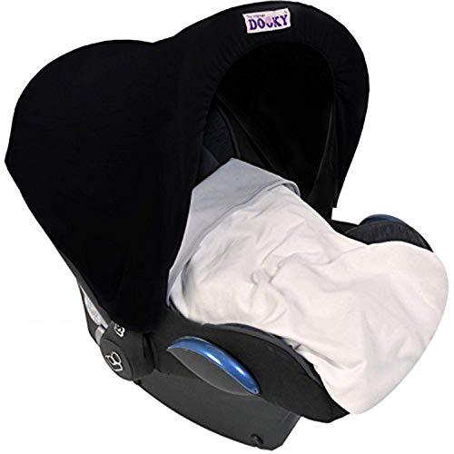 Original Dooky Hoody Sonnenschutz für Babyschalen der Altersgruppe 0+ inkl. UV-Schutz 40+ Universal geeignet für die meisten Marken, schwarz