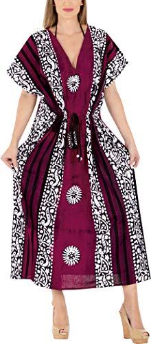 LA LEELA Mujeres Caftán Algodón túnica Batik Kimono Libre tamaño Largo Maxi Vestido de Fiesta para Loungewear Vacaciones Ropa de Dormir Playa Todos los días Cubrir Vestidos Granate_X861
