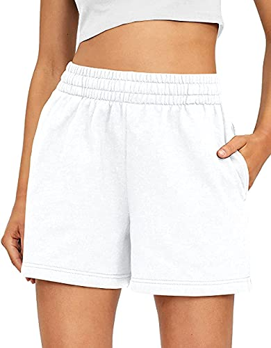 Athletic Shorts for Women Biker Shorts with Pockects Drawstring Cotton Boxer Shorts for Running Workout White Large