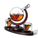 HYDT Decantador De Whisky Grande Decantador De 850 Ml con 2 Vasos Y Hermosa Base De Madera para Un Vaso De Whisky, Escocés Y Vodka Regalo De Vino
