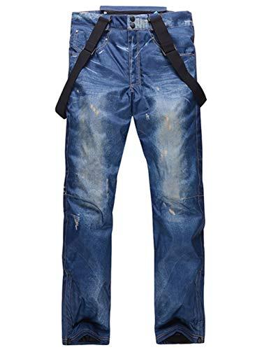 スノーボードウェア メンズ パンツ ジーンズ インディゴ デニム風 スノーパンツ スキーパンツ 厚手 防水防風通気 保温 大きいサイズ ボトムス blue XL