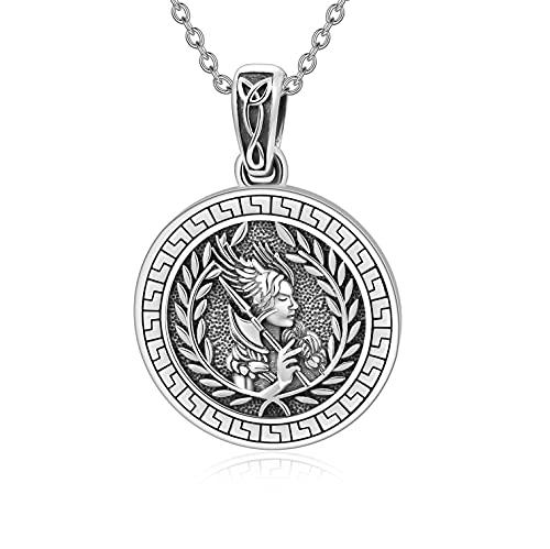 Athena the Goddess of Wisdom Necklace for Women 925 Sterling Silver Greek Mythology Pendant Necklaces