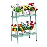 DOEWORKS - Soporte para maceteros con forma de escalera de 2 niveles, estante de esquina, soporte de exhibición para plantas suculentas para uso en interiores y exteriores, color verde