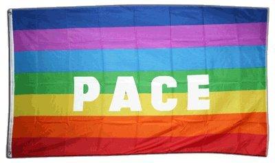Flaggenfritze Fahne/Flagge Regenbogen mit PACE + gratis Sticker