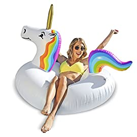 GoFloats Unicorn Pool Float Party Tube - Inflatable Rafts, Adults & Kids 1 CALLING ALL PARENTS: Let Your Kids Enjoy the Magic of Summer with the Go Floats Unicorn Party Tube Jr KID SIZE: Perfectly sized 30inch wide x 2 feet tall tube for proficient swimmers up to 100 pounds (not a lifesaving flotation device only to be used by proficient swimmers under adult supervision) SOFT TOUCH FLOAT: Made using ultra durable raft grade vinyl (latex free) to resist wear and tear and built to last all summer long adult supervision required