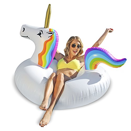 GoFloats Unicorn Pool Float Party Tube - Inflatable Rafts for Adults & Kids