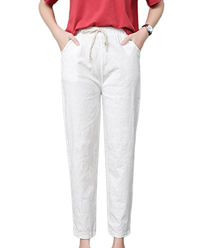 Guiran Femme Pantalon en Lin pour Femme Droite Taille Elastique Sarouel Pantalons avec Cordon Blanc S