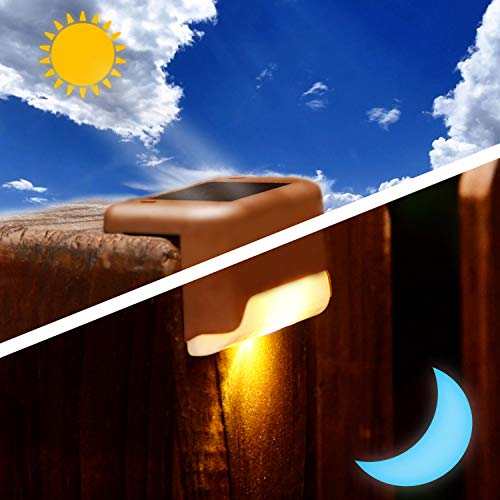Solar Deck Lights Outdoor, Solar Step Light LED Waterproof Lighting for Outdoor Deck, Patio, Stair, Yard, Path and Driveway (Warm White) 8 PCS