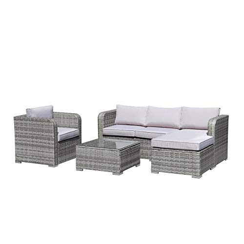UKN Outdoor Patio Furniture Set Pe Rattan Wicker Sectional Sofa with Cushions Tea Table Minimal Assembly Required Grey Coffee Cushion Included