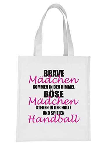 clothinx Einkaufstasche Brave Mädchen Kommen In Den Himmel Böse Mädchen Spielen Handball Weiß