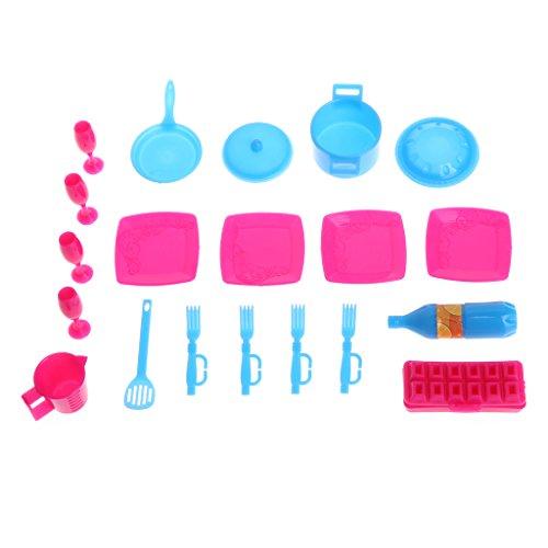 6Wcveuebuc Mini simulación ollas y sartenes platos de vajilla de cocina para muñeca Barbi