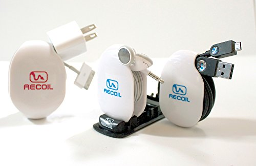 Recoil Automatic Cord Winder for Headphones, USB Cables and Charger White.