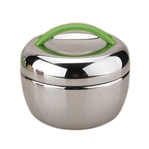 Milopon Boîte à déjeuner à double couche isotherme En acier inoxydable Boîte à pain/boîte à petit-déjeuner/bento/boîte de conservation, Acier inoxydable Métal, vert, 1300ml