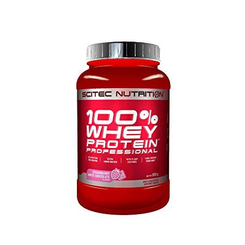 Scitec Nutrition 100{6eb9119f8d8608e64a2608bf9933baa8202be8246a4478faa10666b861ec3626} Whey Protein Professional mit extra zusätzlichen Aminosäuren und Verdauungsenzymen, 920 g, Erdbeere-Weiße Schokolade