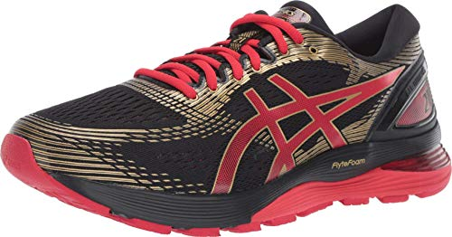 ASICS Men's Gel-Nimbus 21 Running Shoes, 9.5M, Black/Classic RED