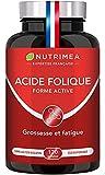 Vitamine B9 brevetée – Acide Folique sous forme active à Assimilation supérieure – Complément pour femme enceinte – Réduit la fatigue – 120 gélules Vegan - Fabriqué en France - Nutrimea