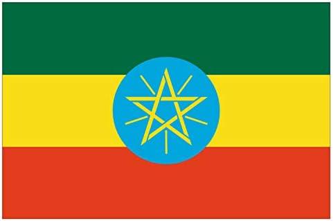PVCschild formaat 18 x 12 cm vlag van de nationale Ethiopi dikte 5 mm