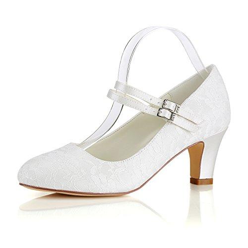 Emily Bridal  Seide Hochzeit Schuhe Vintage Round Toe Mary Jane Brautschuhe Hochzeit Gast Schuhe, 39 EU, Elfenbein