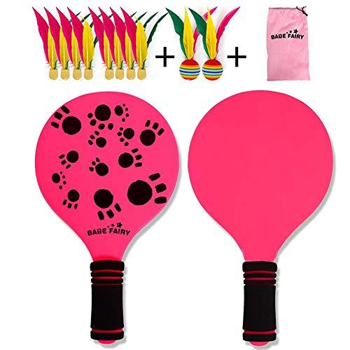 Sunflowerany Beach Paddle Set, 1 Paar Federbälle +8 × Hochelastische DREI-Haare-Bälle + 2 × Big Head-Bälle + 1 × Racket-Aufbewahrungstasche, Spiel für Kinder, Erwachsene & Jugendliche