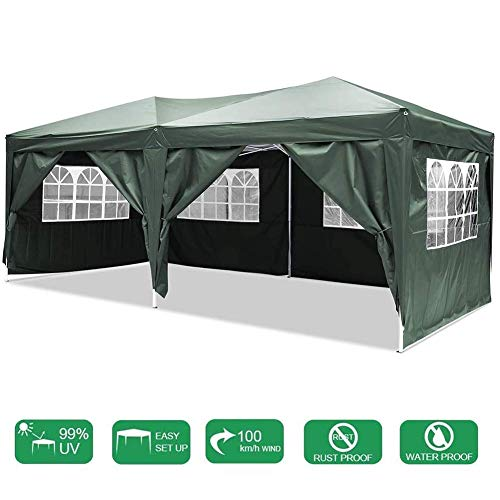 MYPNB Gazebo, Outdoor Event Shelter 3 X 6m (9.8 X 19.6ft) Gazebo Tent Waterproof Pop-up Pavilion with Sides Outdoor Canopy Awning for Wedding Garden Party Four Seasons Pavilion