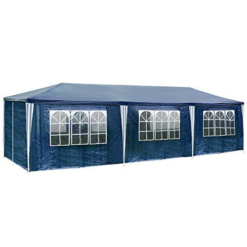 TecTake 800085 - Carpa Pabellón de Jardín, Tienda de 9x3m, Ideal para Eventos y Fiestas (Azul   No. 400935)
