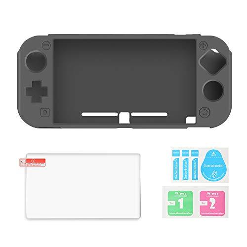 AFAITH - Custodia in silicone per Nintendo Switch Lite, con pellicola protettiva in vetro temperato, antiurto, antigraffio e antiscivolo, per console Nintendo Switch Lite, colore: Grigio