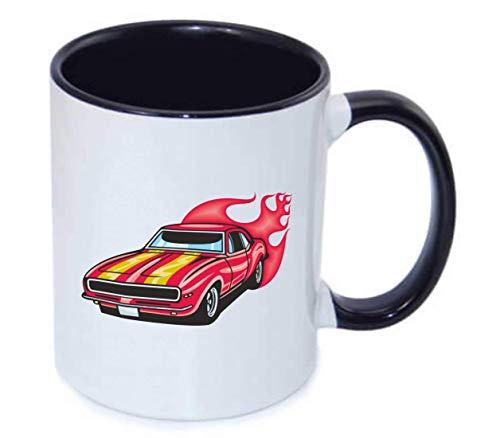 Druckerlebnis24 Tasse - Mustang Hotrod Mit Streifen - Kaffee-Tasse 330ml - Unisize aus Keramik - Tee