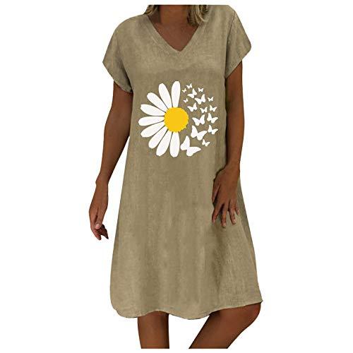 YAOBF vivance Sommerkleid Sommerkleid Baby vivance Sommerkleid Sommerkleid Lange Strandkleider Damen Sommerkleid Kurzarm Damen (Khaki 10,L)