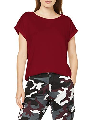 Urban Classics Ladies Organic Extended Shoulder tee Camiseta, Granate, M para Mujer