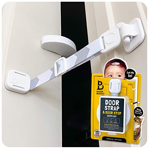Door Buddy Child Proof Door Lock and Foam Baby Door Stopper. Baby Proofing Doors Made Simple with Easy to Use Hook and Latch. Keep Baby Out, Prevent Finger Pinch Injuries, and Allow Cats Easy Access.