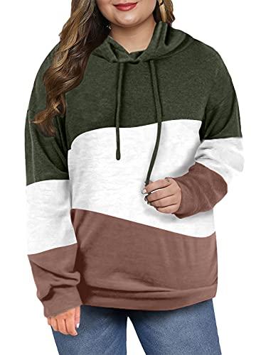 Eytino Women Color Block Long Sleeve Drawstring Plus Size Pullover Hoodie Sweatshirt Tops,2X Green