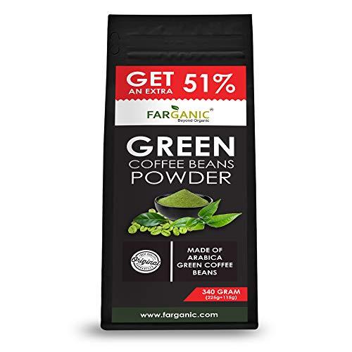 Farganic Green Coffee Beans powder -Made of Arabica Coffee Beans 340 Gram