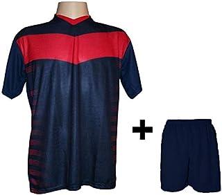 4d0e7c36b8 Uniforme Esportivo com 12 camisas modelo Dubai Marinho Vermelho + 12 calções  modelo Madrid Marinho