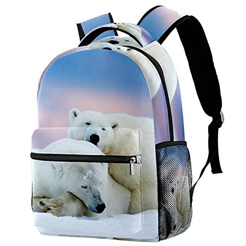 XiangHeFu Mochila escolar para niñas niño caminata al aire libre bolsa de viaje mochila Alaska Two Blanco Osos Wallpaper Mochila estampada