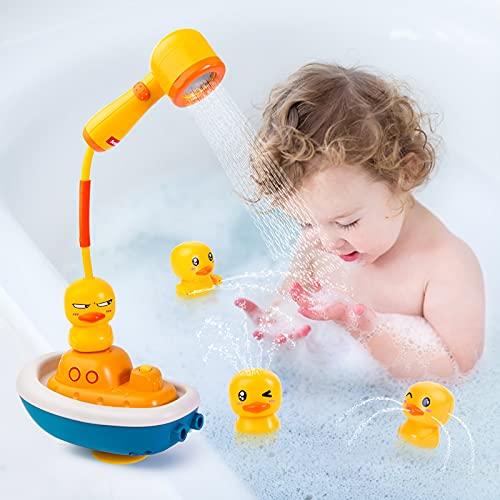 Yellcetoy Badespielzeug Badewannenspielzeug ab 1,2,3 Jahre Wasser Spielzeug Baby Badespielzeug für Kleinkinder Kinder Gelbes Enten Sprinkler Bad Spielzeug