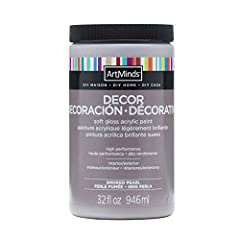 High performance acrylic paint Durable soft gloss finish for wood, drywall, glass, ceramic, metal, rigid plastic, fabric, concrete, and more Jar 32 fl. oz. (946 ml) Covers approx. 80 sq. ft. Easy-clean up while still wet with beautiful finish when dr...
