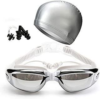 Placextre Swimming Goggles Earplug Cap Kit Waterproof HD Anti-Fog Lenses Adjustable for Adults
