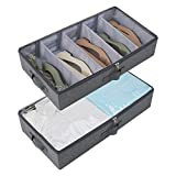 Amonsen Pack de 2 contenedores de almacenamiento rígidos lavables para debajo de la cama, color negro y gris
