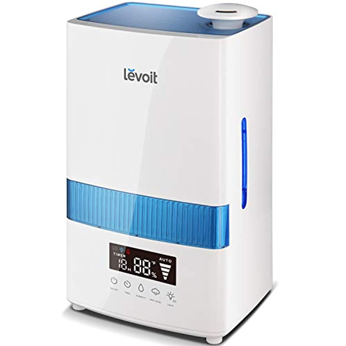 LEVOIT Cool Mist Humidifiers, 4.5L Ultrasonic Humidifier for Bedroom and Babies with Humidity Monitor, Vaporizer for Large Room, Whisper-Quiet, Auto Shutoff, 40 Hrs Working Time, 2-Year Warranty