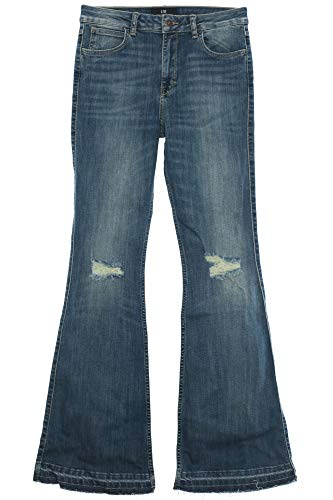 LTB Gwena Flare Jeans Hose Damen Stretch Denim Bootcut Schlaghose Used Look, Farbe:blau, Hosengrößen:W30, Hosenlängen:L33