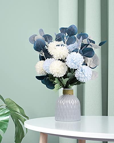 Flores costeras, hortensias, ramo de crisantemos, bola, ramo de boda, hogar, fiesta, oficina, decoración de mesa (azul)