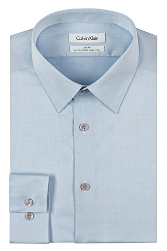 Calvin Klein Men's Dress Shirt Slim Fit Non Iron Herringbone, Blue, 16.5' Neck 34'-35' Sleeve (Large)