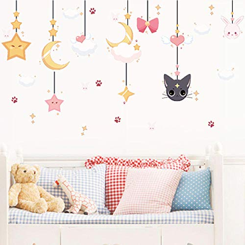 Wandaufkleber Aufkleber Layout Wanddekorationen wasserdichte Wandaufkleber Tapete selbstklebend-Rabbit Moon Star_in