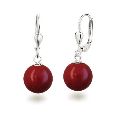 Schöner-SD Perlenohrringe Ohrhänger 925 Silber mit 10mm großen runden Perlen koralle-rot