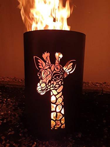 Tiko-Metalldesign Feuertonne, Feuerkorb, Feuerschale mit Motiv Giraffe